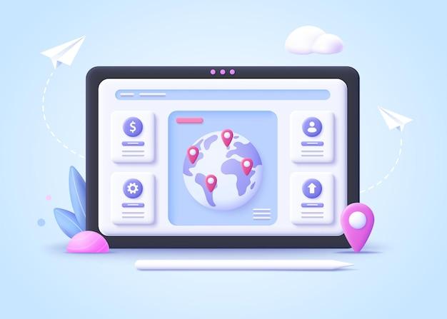 Concept van internationaal zakendoen, wereldbedrijfsnetwerk