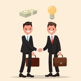 Concept van investering in het bedrijf. twee zakenlieden schudden elkaar de hand en ondertekenen een overeenkomst.