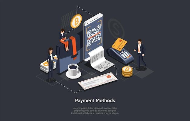 Concept van isometrische betalingsmethode. mensen betalen voor goederen of diensten en kiezen verschillende betaalmethoden. tekens betalen per kaart, contant, via smartphone of bankoverschrijving.