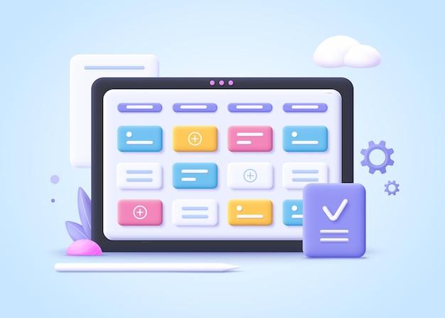 Concept van kanban board, agile project management concept, werkschema organisatie, tijdplanning en workflow management.3d realistische vectorillustratie.