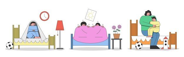 Concept van kinderen slechte dromen en nachtmerries. kinderen worden wakker van een nachtmerrie en zitten onder de deken. moeder kalmeert jongen vanwege een slechte droom. cartoon lineaire omtrek vlakke stijl. vectorillustratie