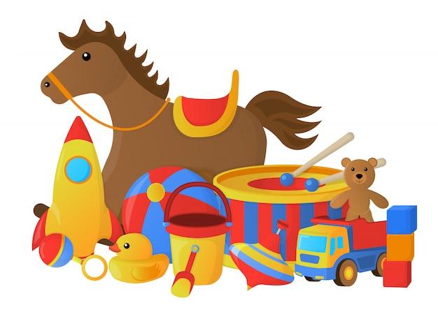 Concept van kinderen speelgoed. cartoon stijl. vector illustratie.