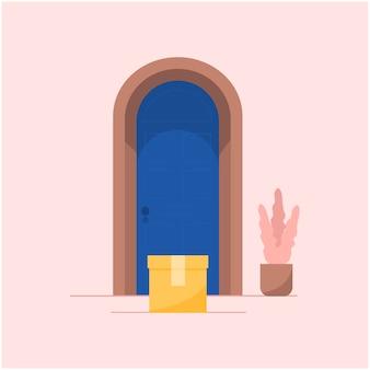 Concept van levering huis-aan-huis service concept. verpak kartonnen doos met voedsel of boodschappen bij de voordeur. veilige contactloze levering.
