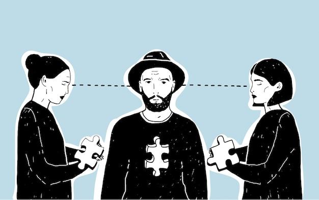 Concept van liefdesdriehoek, moeilijke keuze. jonge kerel en twee meisjes met puzzelstukje. hand getekende illustratie op blauwe achtergrond.