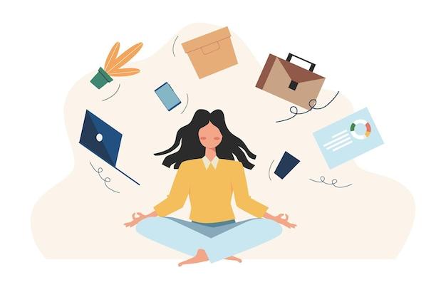 Concept van meditatie tijdens werkuren, pauze, gezondheidsvoordelen van lichaam, geest en emoties