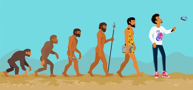 Concept van menselijke evolutie van aap tot mens
