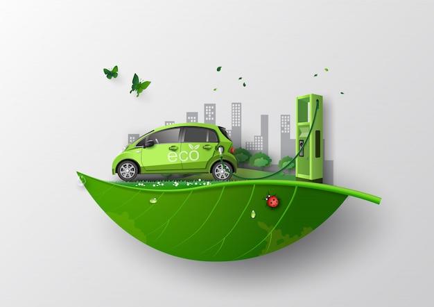 Concept van milieuvriendelijk met eco-auto.