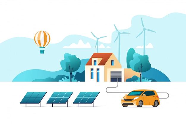 Concept van milieuvriendelijke alternatieve energie. huis met zonnepaneel en windturbines. illustratie.