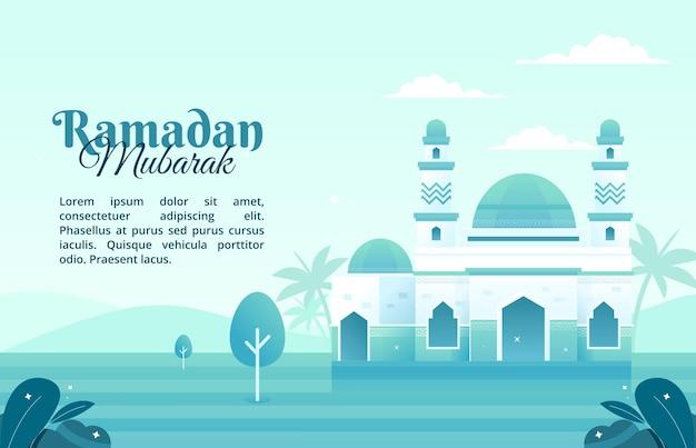 Concept van moskee illustratie in de maand ramadan met een platte ontwerpstijl