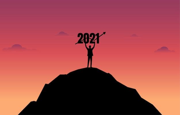 Concept van nieuwjaar 2021 en bedrijfsontwikkeling. prestatie. succes. leiderschap