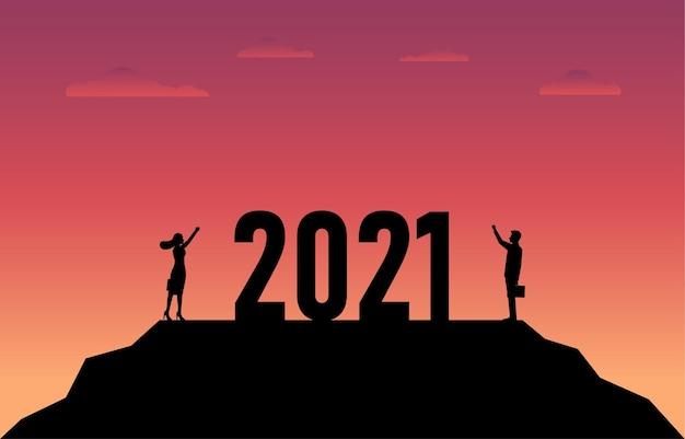 Concept van nieuwjaar 2021 en bedrijfsontwikkeling.