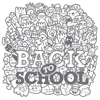 Concept van onderwijs. hand getrokken schoolbenodigdheden en komische tekstballon met back to school-belettering in pop-artstijl