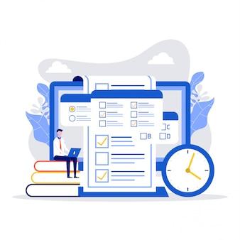 Concept van online examen, online testen, vragenlijstformulier, online onderwijs, enquête, internetquiz.