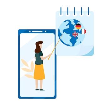 Concept van online leren, taalcursussen, examenvoorbereiding, thuisonderwijs. applicatie voor de mobiele telefoon. platte vectorillustratie geïsoleerd op een witte achtergrond