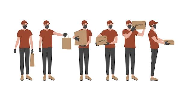 Concept van online levering, set van een koerier in een ademhalingsmasker met een doos, pakket in zijn handen.