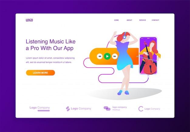 Concept van online muziekspeler applicatie voor website, landingspagina