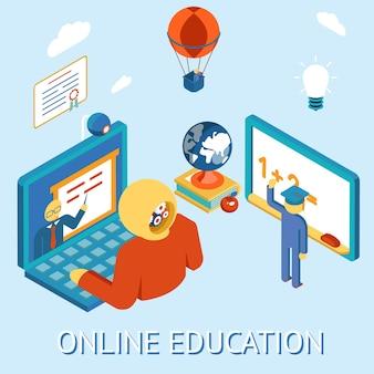 Concept van online onderwijs. bestudeer afstand door te rekenen. op afstand en onafhankelijk.