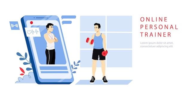 Concept van online persoonlijke trainer. website bestemmingspagina.