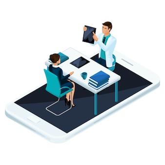 Concept van online raadpleging van een gekwalificeerde arts en chirurg via mobiele telefoon en sociale netwerken