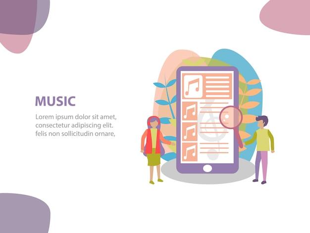 Concept van online streaming muziek achtergrondontwerp