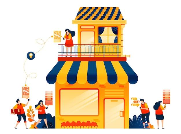 Concept van online verkopen met e-commerce bezorgservice winkelhuis met appartement