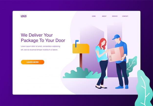 Concept van online verzending levering, man geeft een vrouw een doos voor de website.