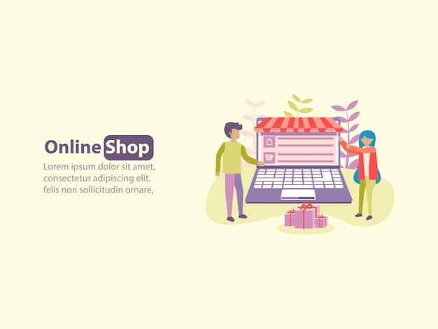 Concept van online winkel e-commerce achtergrondontwerp