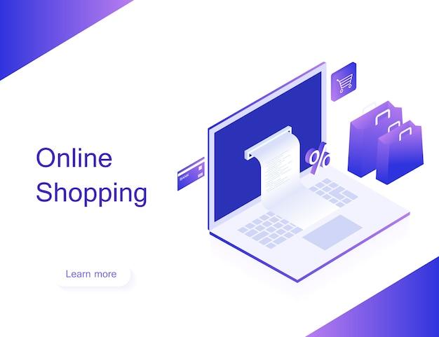 Concept van online winkel. geld overmaken van kaart. isometrische afbeelding van laptop, bankpas en boodschappentas op witte achtergrond. 3d-plat ontwerp. moderne vectorillustratie
