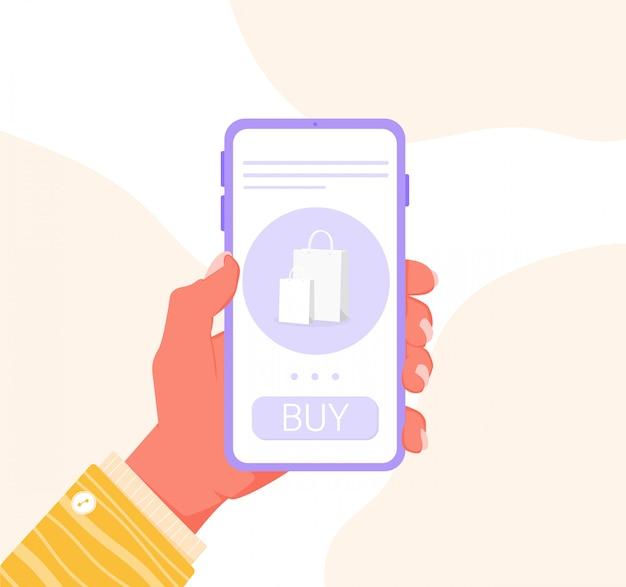 Concept van online winkelen zonder het huis te verlaten. bestel eten en kleding vanaf een smartphone. paarse telefoon in een hand met een gele mouw. voorraadsjabloon voor website en applicatieontwerp.