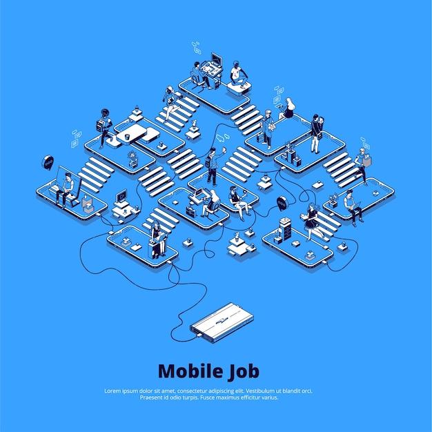Concept van online zaken met behulp van telefoon, carrière op digitaal gebied, mobiele marketing en netwerk.