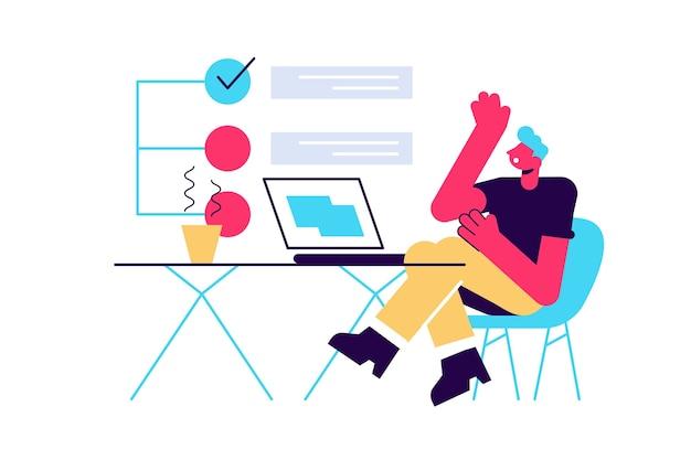 Concept van ontbrekende deadline, slecht tijdbeheer. scène van een vermoeide, nerveuze, gestreste man grijpt zijn hoofd op het werk, takenlijst met rode vinkjes. platte cartoon afbeelding geïsoleerd op een witte achtergrond