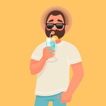 Concept van ontspanning en zomervakantie. een man met zonnebril drinkt een cocktail.