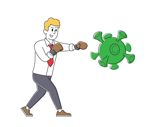 Concept van oplossing om besmetting met covid-virus en pandemie in het bedrijfsleven te stoppen