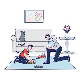 Concept van ouders die vrije tijd met kinderen thuis doorbrengen