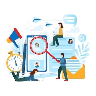 Concept van personeel, keuze, carrière, werk, cv, zoeken naar werk, professionele vaardigheden.