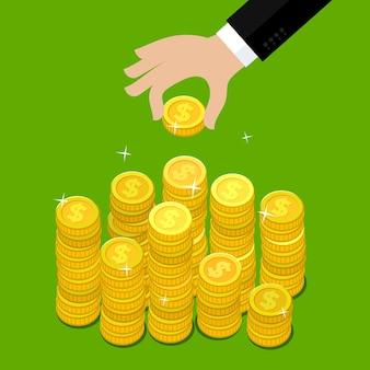 Concept van rijkdom. hand zet muntstuk geld trap. plat ontwerp