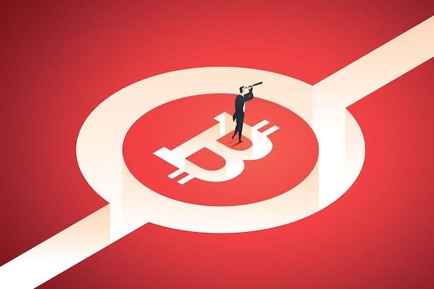 Concept van risico's en investeringsmogelijkheden cryptocurrency blockchain-technologie