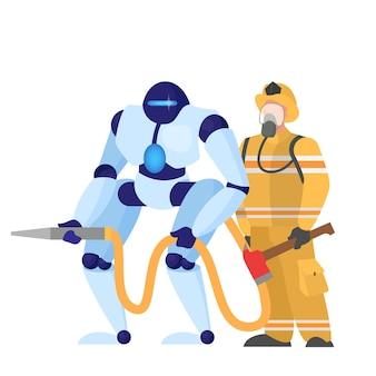 Concept van robotachtige brandweerman helpen mens. futuristisch technologieconcept beroepen.