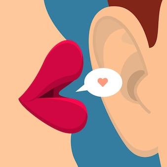 Concept van roddels of liefde. vrouwelijke lippen spreken in het oor. plat ontwerp