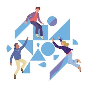 Concept van samenwerking tussen mensen en metaforen om verschillende soorten geometrie te bouwen