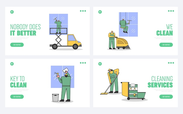 Concept van schoonmaakservice en personeel