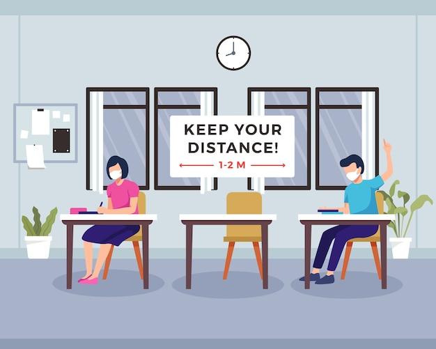 Concept van sociaal afstand nemen op school. klaslokaal met student die veilige afstand bewaart. kinderen dragen gezichtsmasker. nieuw normaal op openbare plaatsen, sociale afstand, klasse interieur. in een vlakke stijl