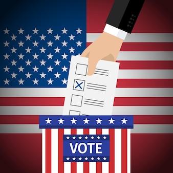 Concept van stemmen. amerikaanse presidentsverkiezingen 2016. hand die stempapier in de stembus zet. platte ontwerp, vectorillustratie.