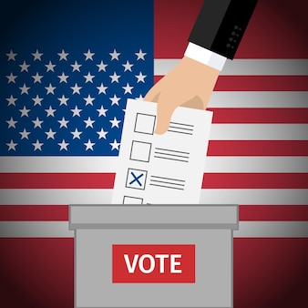 Concept van stemmen. hand die stempapier in de stembus stopt. amerikaanse presidentsverkiezingen