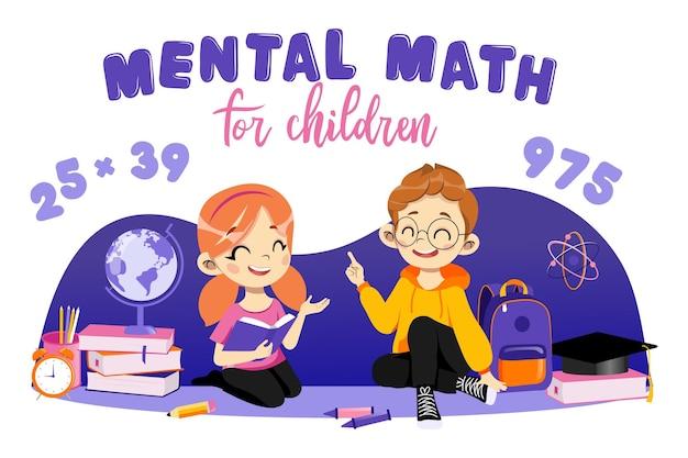 Concept van studeren en terug naar school. mentale wiskunde voor kinderen. gelukkige kinderen leren tellen in gedachten zittend op de vloer in de omgeving van schoolbenodigdheden. cartoon vlakke stijl.