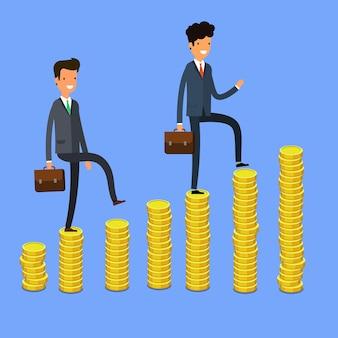 Concept van succes. mensen uit het bedrijfsleven klimmen het geld. platte ontwerp, vectorillustratie.