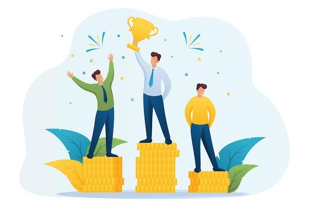 Concept van succes van de ondernemer in zaken in plat ontwerp