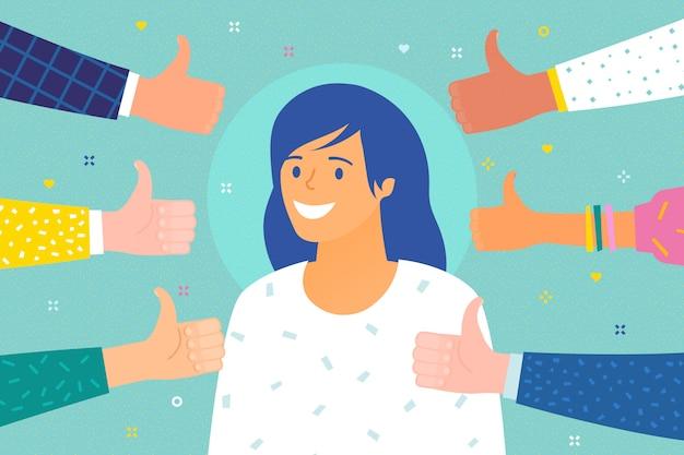Concept van succes. vrolijke jonge vrouw omringd door handen met omhoog duimen.