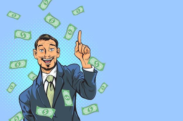 Concept van succesvolle bedrijfsmens, financiën rijkdomwinst.
