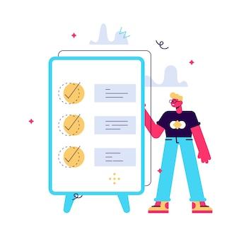 Concept van succesvolle voltooiing van de taak, effectief dagelijks plan organiseren, tijdbeheer. gelukkig man stand-by klembord met grote mobiele interface. vlakke afbeelding geïsoleerd op een witte achtergrond